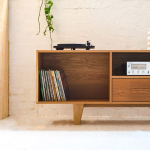 American Oak sideboard for record and player
