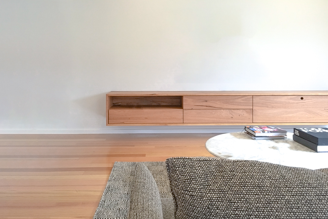Custom timber floating wall unit melbourne