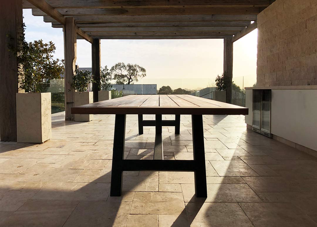 outdoor timber large dining table