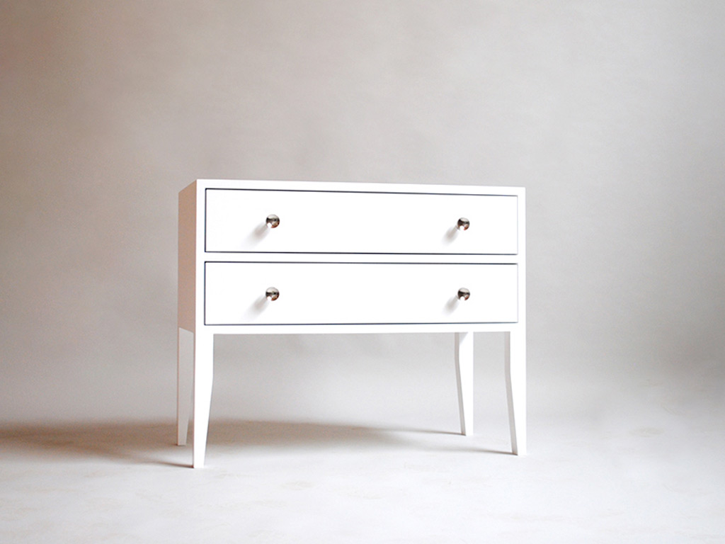 white timber bedside drawers